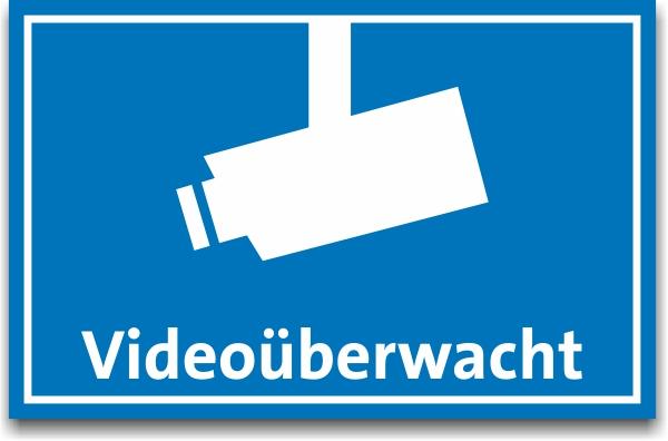 5 X Aufkleber Videoüberwacht Mit Kamerasymbol 85x55mm Blau